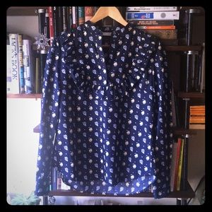 Blue blouse with ruffle detail